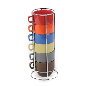Fall Colors Mug Stack with Metal Stand