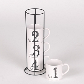 Numbered Mug Stack with Metal Rack