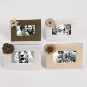 Burlap Flower Picture Frame, 4x6