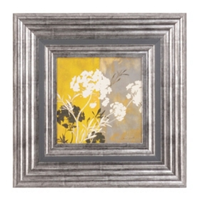 Yellow Floral Silhouette I Framed Art Print