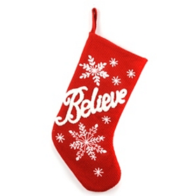 Believe Red Knit Christmas Stocking
