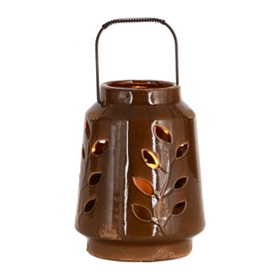Ceramic Brown Leaf Lantern, 8 in.