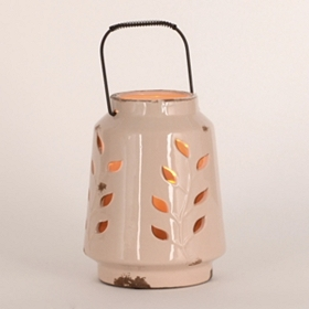 Ceramic Ivory Leaf Lantern, 8 in.