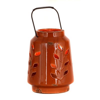 Ceramic Spice Leaf Lantern, 8 in.