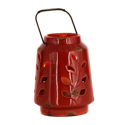Ceramic Red Leaf Lantern, 8 in.