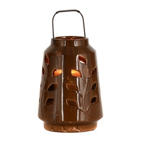 Ceramic Brown Leaf Lantern, 10 in.