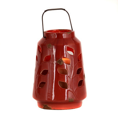 Ceramic Red Leaf Lantern, 10 in.