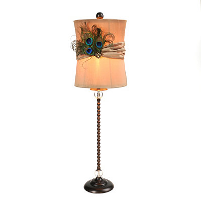 Beaded Peacock Plume Buffet Lamp