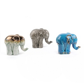 Ceramic Elephant Statues, 4.5 in.