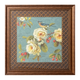 Teal Birds & Blooms I Framed Art Print