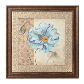 Blue Poppy Damask  I Framed Art Print