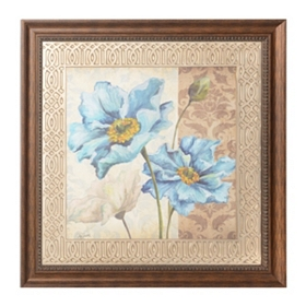 Blue Poppy Damask  II Framed Art Print