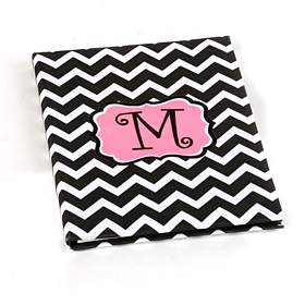 Large Chevron Pink Monogram Notebook