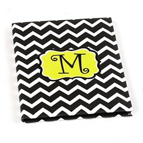 Large Chevron Green Monogram Notebook