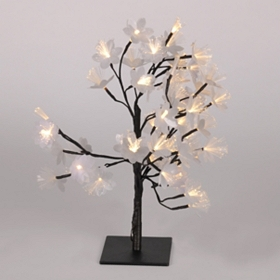Pre-Lit Silver Fiber Optic Floral Tree