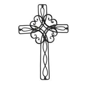 Scrolled Metal Cross Wall Plaque