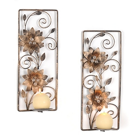 Sophie Floral Metal Sconce, Set of 2