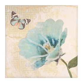 Blue Geo Floral II Canvas Art Print