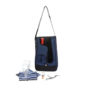 Barossa Navy Blue Wine Picnic Tote Set