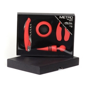 Metro Red 4 pc. Wine Tool Set