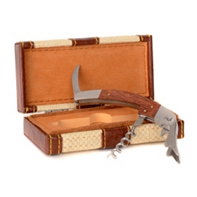 Wine Opener Multi-Tool w/ Brown Leather Case