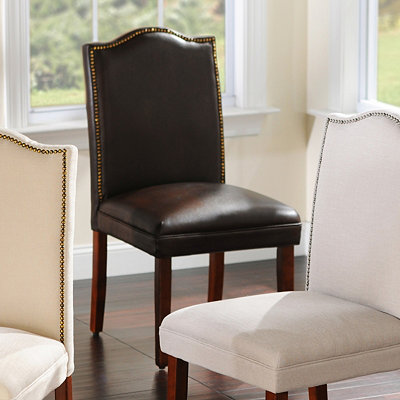 Faux Leather Nailhead Parsons Chair