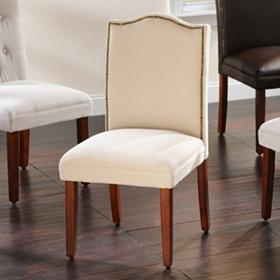 Ivory Linen Nailhead Parsons Chair