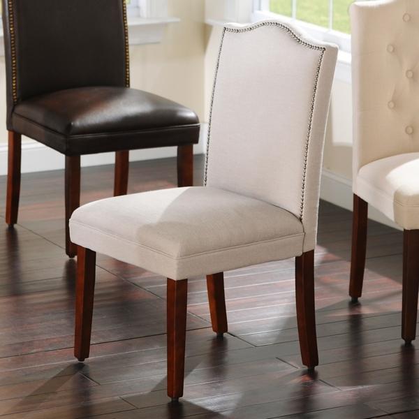 Gray Linen Nailhead Parsons Chair