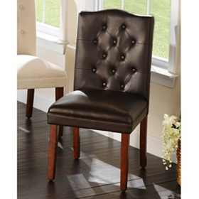 Tufted Faux Leather Parsons Chair
