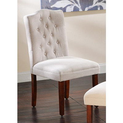 Tufted Gray Linen Parsons Chair