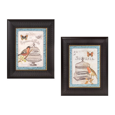 Birds & Butterflies Framed Art Print, Set of 2