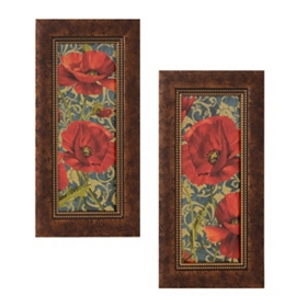 Poppies On Teal Framed Art Print, Set of 2