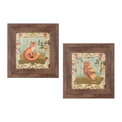 Fox & Owl Framed Art Print, Set of 2