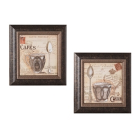 Coffee in Paris Framed Art Print, Set of 2
