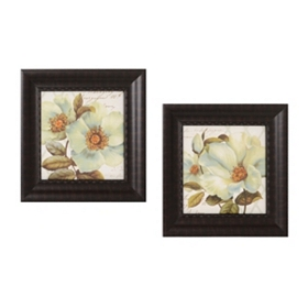 White Floral Bliss Framed Art Print, Set of 2