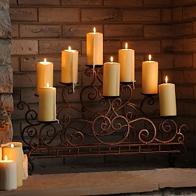 Scrolled Copper Fireplace Candelabra