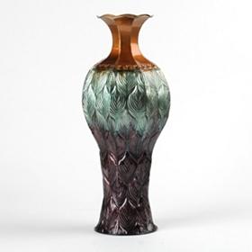 Ombre Metal Peacock Vase