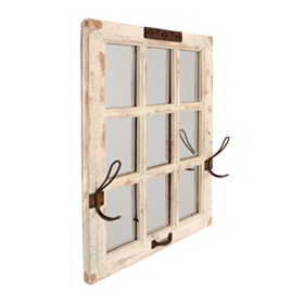 Antiqued White Window Mirror