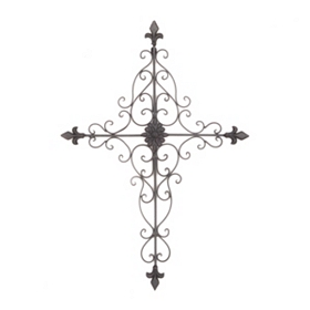 Scrolled Fleur-de-Lis Cross Wall Plaque