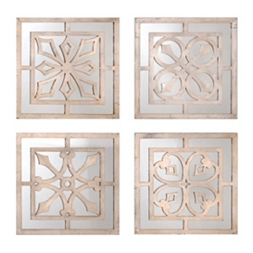 Quatra Mirrored Wall Plaque, Set of 4