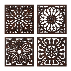Bronze Floral Medallion Tiles, Set of 4