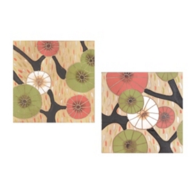 Tree Blossoms Wood Wall Plaque, Set of 2