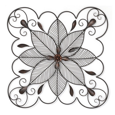 Scrolled Floral Square Wall Plaque