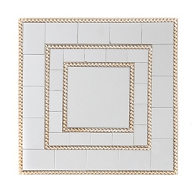 Silver Square Beaded Mirror