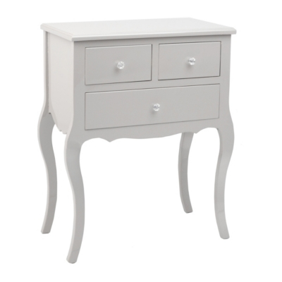 Gray Lacquered Bombe 3-Drawer Chest