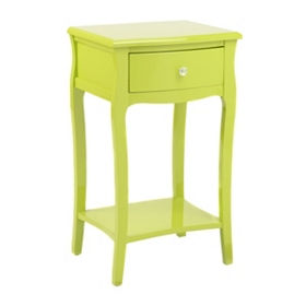Lime Green Lacquered 1-Drawer Accent Table