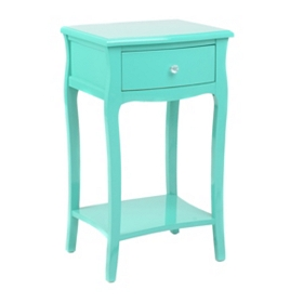 Turquoise Lacquered 1-Drawer Accent Table