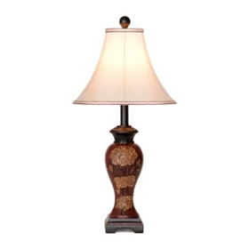 Brown Carved Garden Table Lamp