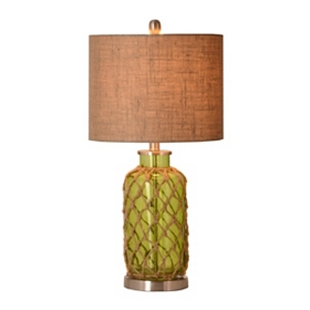 Green Glass & Rope Table Lamp