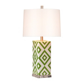Green Diamond Print Table Lamp